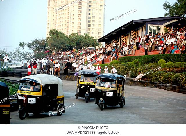 Auto rickshaws race took place at the Hiranandani Gardens ; Powai ;  Bombay Mumbai ; Maharashtra ; India