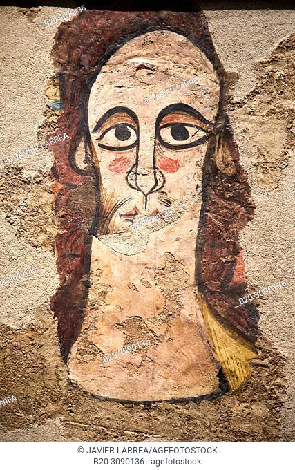 Cabeza de Pantocrator, Pinturas murales de la iglesia de San Juan Bautista de Ruesta (Zaragoza), Diocesan Museum of Jaca, Museo Diocesano de Jaca, Jaca
