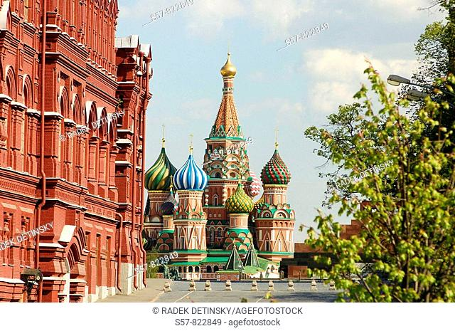 historical museum and Saint Basils cathedral, Red Square, Moscow, Russia