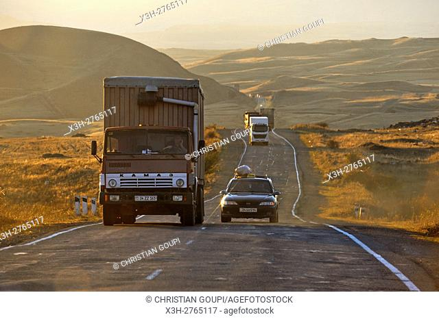 road through the rolling plateau of Syunik, the southernmost province of Armenia, Eurasia