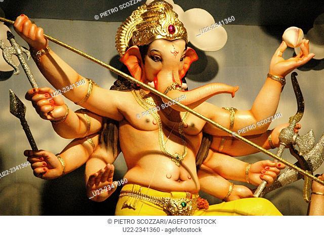 Panjim, Goa, India: holy image during Ganesh Chaturthi, the elephant-god's birthday in September
