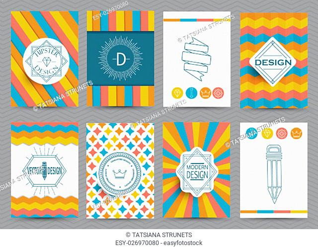 Set of Retro Insignias and Logotypes, brochures in vintage style. Vector