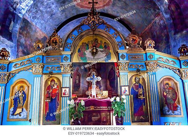 Ancient Mosaics Golden Screen Icons Basilica Mikhaylovsky Church Vydubytsky Monastery Kiev Ukraine. Saint Michael's is the oldest functioning Orthordox...