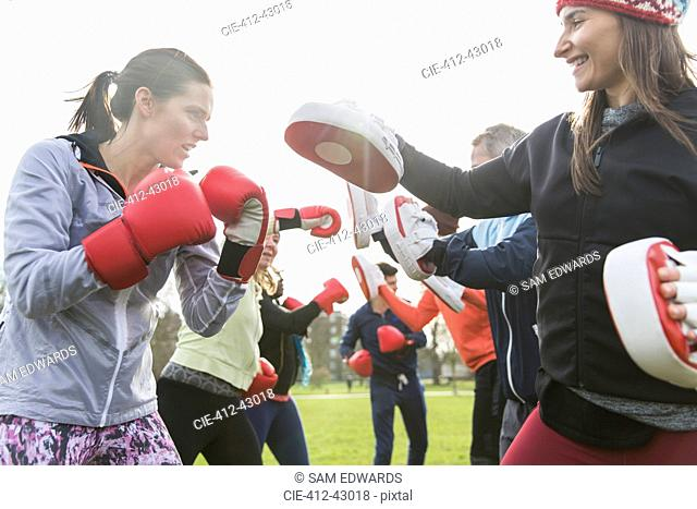 Determined women boxing in sunny park