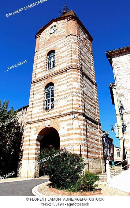 Towerclock of the typical village of Auvillar, Tarn et Garonne, Occitanie