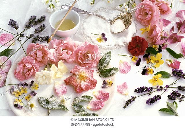 Sugared roses and other flower petals