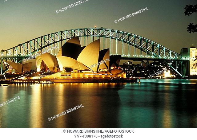 Sydney Opera House and Harbour Bridge at night