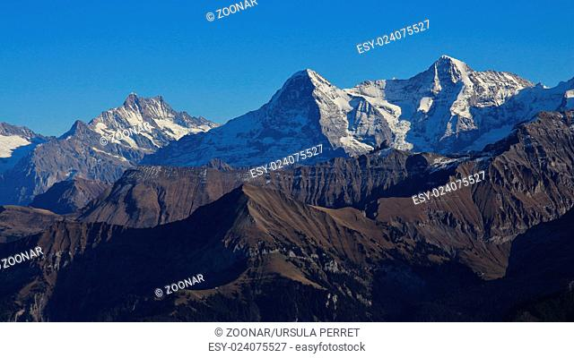 Majestic mountains Eiger, Monch and Jungfrau
