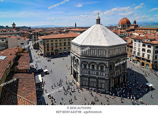View from Cathedral of Santa Maria del Fiore in Florence on the Baptistry