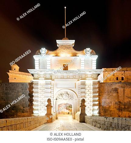 Mdina gate illuminated at night, Malta