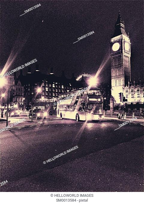 Parliament Square at night, London, England