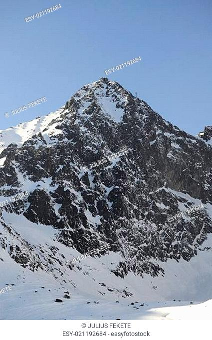Mountains in winter with cable car