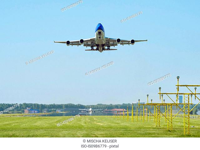 Airplane taking off, Schiphol, North Holland, Netherlands, Europe