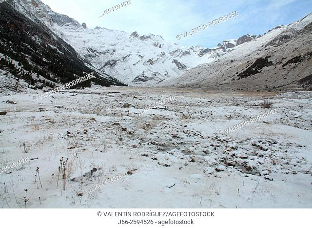 Landscape in winter in the valley of Otal. Ordesa National Park. Huesca