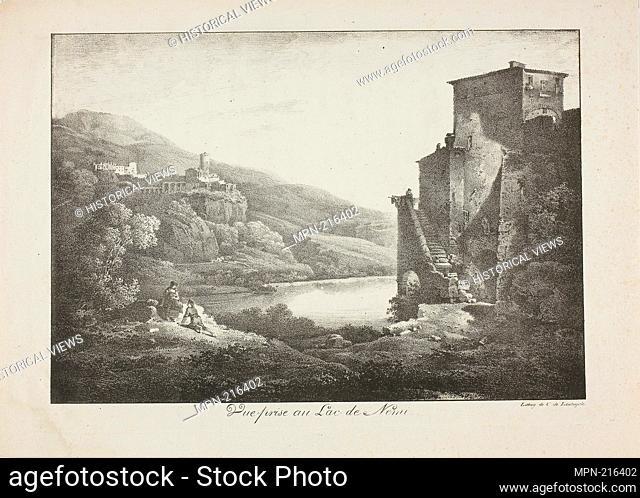 View of Lake Nemi - c. 1820 - Comte de Charles Philibert Lasteyrie du Saillant (French, 1759-1849) after Lameau (French, active 1803-1822) - Artist: comte de...
