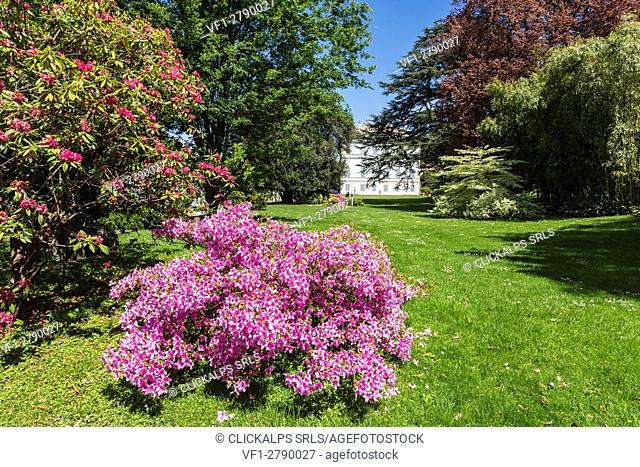 The gardens of Villa Melzi d'Eril in Bellagio, Lake Como, Lombardy, Italy