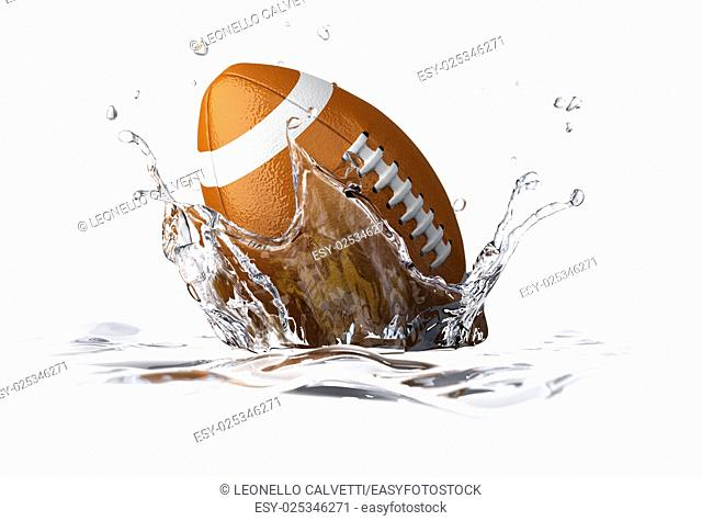 American football ball, falling into clear water, forming a crown splash. On white background, with depth of field