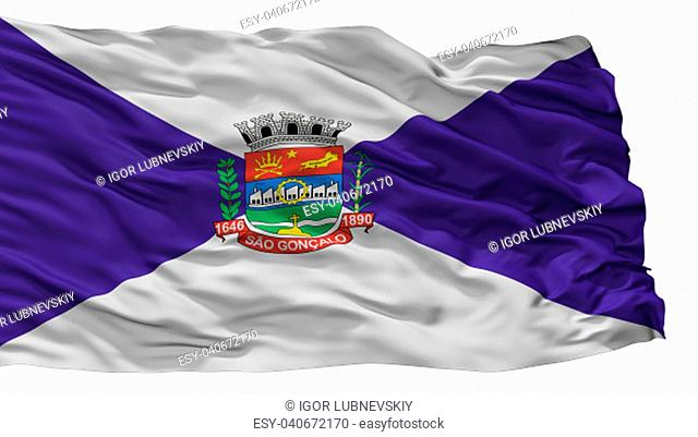 Sao Goncalo City Flag, Country Brasil, Isolated On White Background