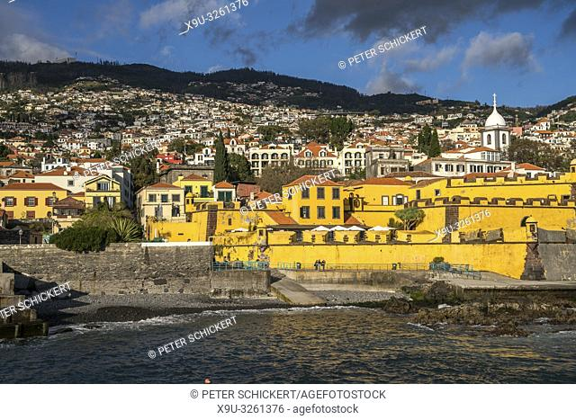 fortress Forte de Sao Tiago and the church Igreja do Socorro, Funchal, Madeira, Portugal, Europe
