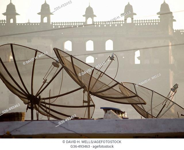 Satellite dishes on building tops, Orcha, India
