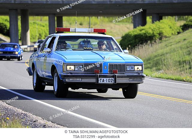 Salo, Finland. May 18, 2019. Classic Oldsmobile 88 NYPD Police car on Salon Maisema Cruising 2019. The popular annual event featured over 450 vehicles