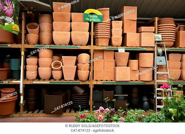 Pottery storage in a garden center