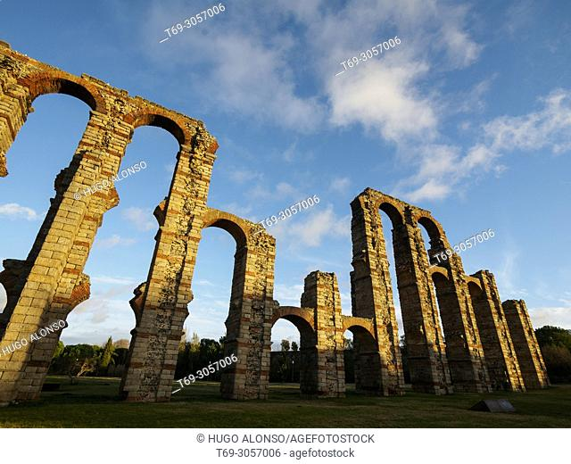 Los Milagros. Roman Aqueduct of Merida, Extremadura, Spain, Europe