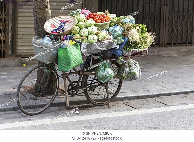 A fully-packed greengrocer's bicycle in Hanoi (Vietnam, Asia)
