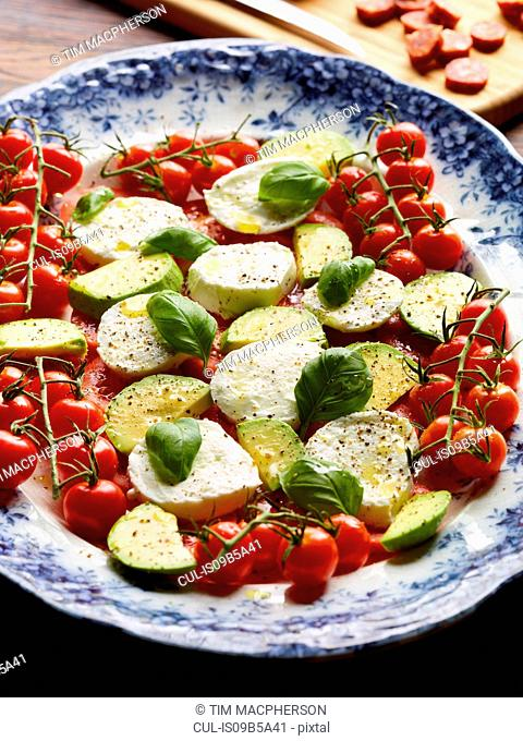 Tomatoes, avocado, mozzarella and basil on plate, elevated view