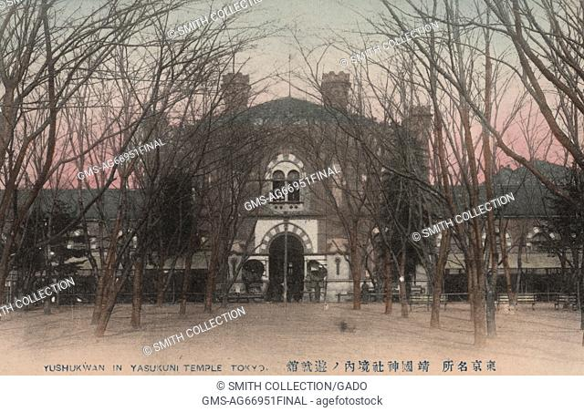 An old postcard picture of the front view of Yushukwan, museum of armament, which preserve and display Meiji Restoration-era artifacts of the Imperial Japanese...