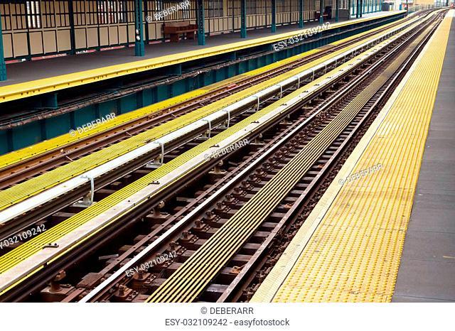 Subway train station scene in New York City