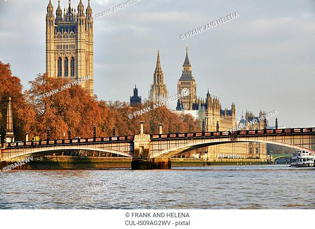 View of Lambeth Bridge, Houses of Parliament and the Thames, London, UK