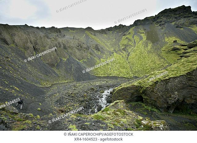Canyon near Gígjökul glacier, Eyjafjallajokull volcano, Iceland