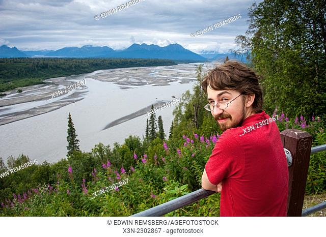Overlook Boy in front of the Susitna River off of Parks Highway, Alaska