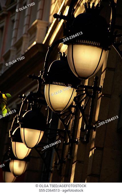 Street lamps. Barcelona, Catalonia, Spain