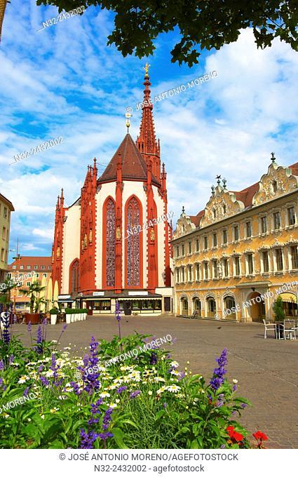 Wurzburg, St. Mary's Chapel, Marienkapelle chapel, Market square, UNESCO World Heritage Site, Romantische Strasse Romantic Road, Franconia, Bavaria, Germany