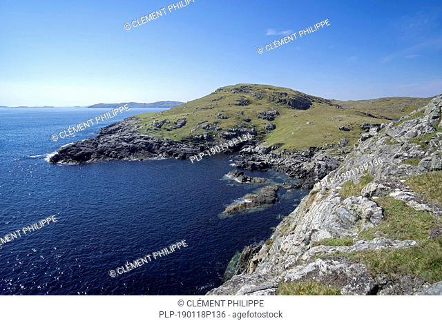 Rugged coastline at Lunna Ness, Mainland, Shetland Islands, Scotland, UK
