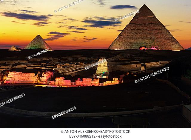 The Great Pyramids of Giza, enlighted at night, Egypt