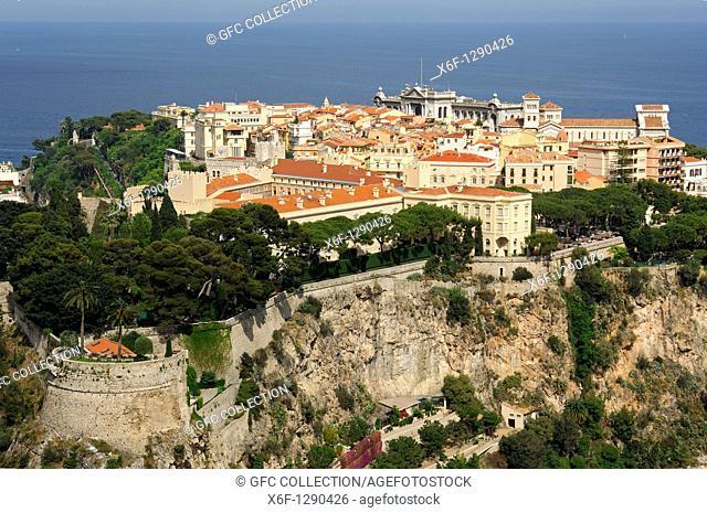 Monaco-Ville on a rock above the Meditteranean Sea, Principality of Monaco