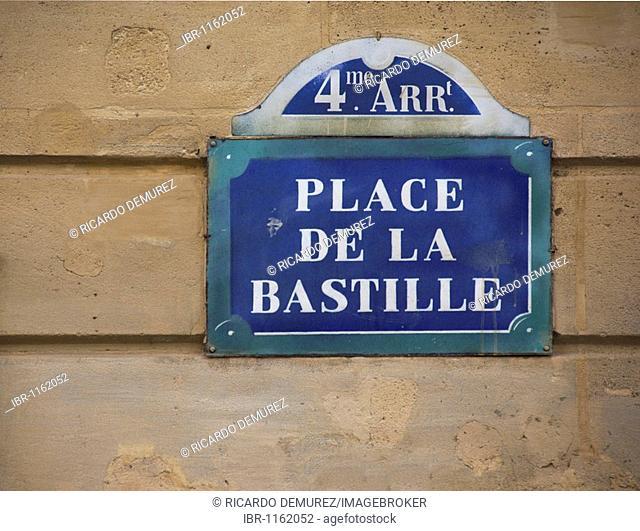 Sign, Place de la Bastille, Paris, France, Europe