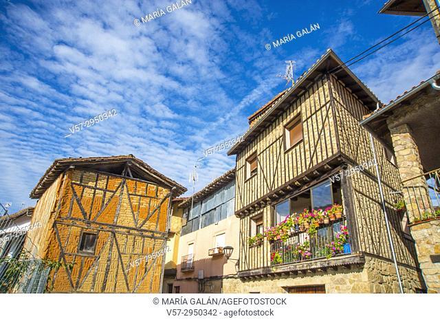 Facades of houses. San Martin del Castañar, Sierra de Francia Nature Reserve, Salamanca province, Castilla Leon, Spain