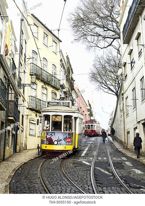 Lisbon Yellow Tram. Lisbon city. Portugal