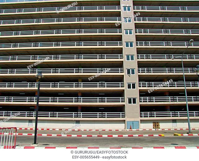 Facade of parking building in Thailand