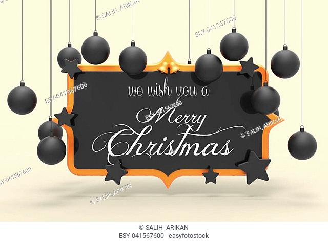 We wish you a Merry Christmas template design. 3D illustrating