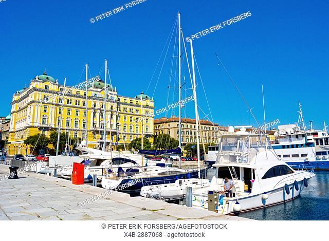 Private boats, harbour, at Riva seaside street, Rijeka, Kvarner Bay, Croatia