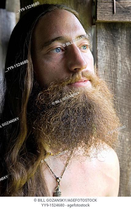 Portrait of Bearded Young Man - Cedar Mountain, North Carolina, USA