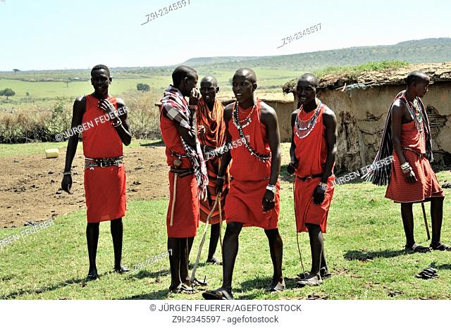 Massai Men sing and dance, Masai Warrior, Masai Mara, Kenya