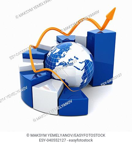 Global business graph on white isolated background. 3d