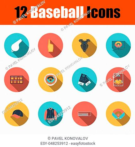 Baseball Icon Set. Flat Design With Long Shadow. Vector illustration