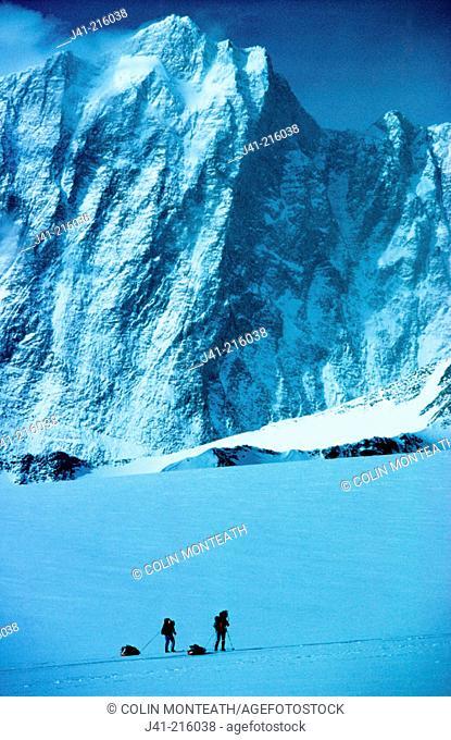 Climbers under Vinson Massif. Ellsworth Mountains. Antarctica